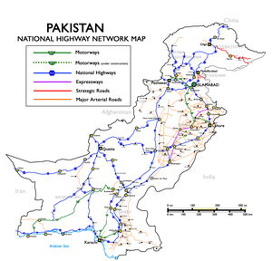 N-5 National Highway - Map of National Highways of Pakistan also indicating N5