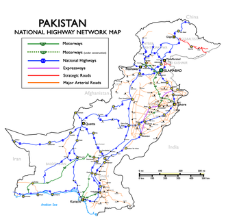 Makran Coastal Highway - Map of National Highways of Pakistan also indicating N10