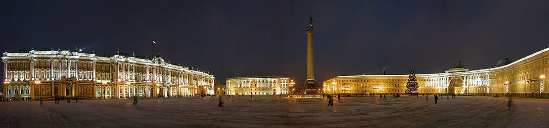 Palace Square in winter. Winter Palace, Alexander Column, General staff Building