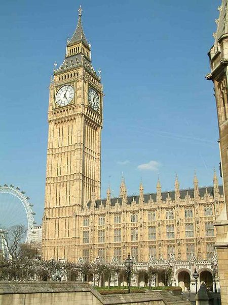 File:Palace of Westminster - Clock Tower and New Palace Yard from the west - 240404.jpg