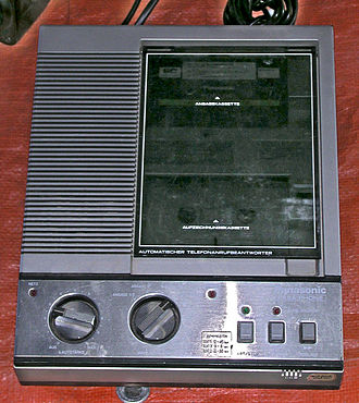 Answering machine - A Panasonic answering machine with a dual compact cassette tape drive to record and replay messages