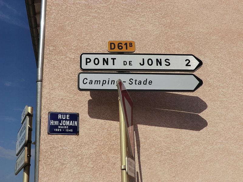 Panneau rue Henri-Jomain (Niévroz).