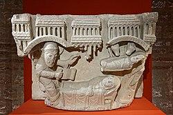 Paris - Musée de Cluny - Chapiteau engagé - Visitation, Nativité avec le prophète Isaïe - 002.jpg