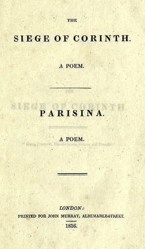 Parisina - First edition title page