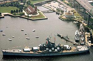 Battleship Cove - Aerial view of Battleship Cove