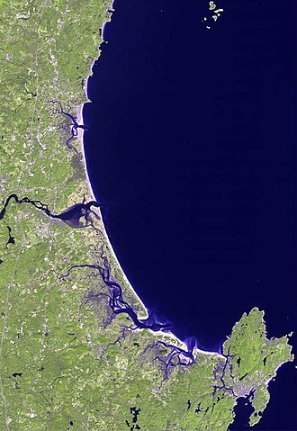 Agawam people - Land of the beautiful waters, eastern Essex County, Massachusetts. The northern border is the Merrimack River, shown center. The southern border is Cape Ann, shown to the south.