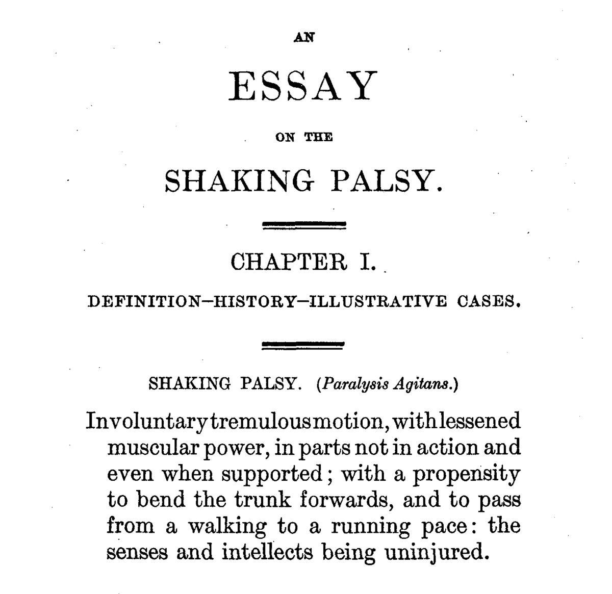 essay on diseases the physician s pulse watch or an essay to  history of parkinson s disease
