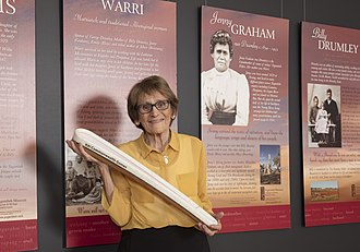 Yugambeh people - Patricia O'Connor with the Queen's Baton at the Yugambeh Museum