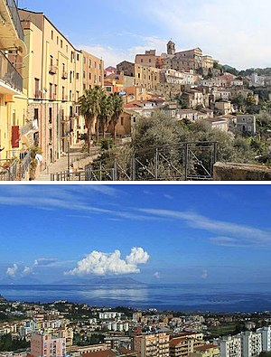 Patti, Sicily - A wiev of the cathedral and the historical centre. The gulf of Patti and Eolian islands.