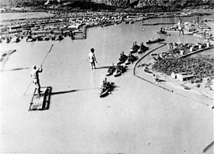 Military simulation - A mock-up of Battleship Row at Pearl Harbor. This image was recreated for a later Japanese propaganda film.