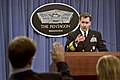 Pentagon Press Secretary Rear Adm. John Kirby describes the latest Defense Department developments in the fight against the Islamic State group in Iraq and Syria, and deployments to Africa to help contain the E 141003-D-NI589-303c.jpg
