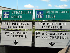 Inner–outer directions - The Boulevard Périphérique around Paris, France is signed with inner and outer (French: intérieur and extérieur) labelling.  Roads in France are not given compass directions.