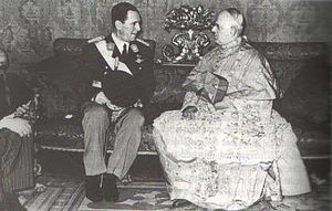 Argentine legislative election, 1948 - President Juan Perón and Cardinal Copello confer shortly after the approval of the 1949 Constitution. Perón maintained the Church's support for his early reforms by assuring the curia a voice in his ambitious agenda.