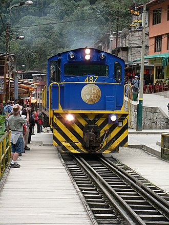 PeruRail - PeruRail train at Aguas Calientes