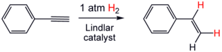 Partial hydrogenation of phenylacetylene using the Lindlar catalyst