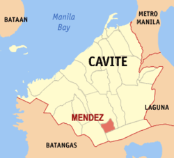 Map of Cavite showing the location of Méndez-Núñez.
