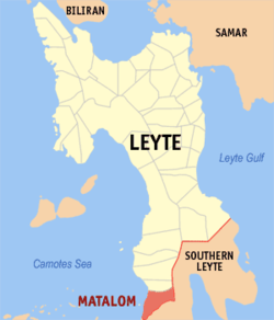 Map of Leyte with Matalom highlighted