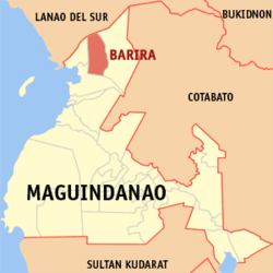 Map of Maguindanao with Barira highlighted