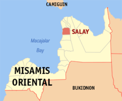 Map of Misamis Oriental showing the location of Salay