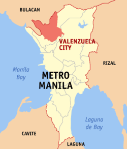 Map of Metro Manila showing the location of the city of Valenzuela.