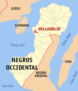 Mapa ti Negros Occidental a mangipakita ti lokasion ti Valladolid, Negros Occidental.