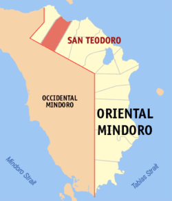 Map of Oriental Mindoro showing the location of San Teodoro