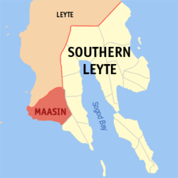 Map of Southern Leyte with Maasin highlighted