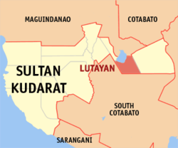Map of Sultan Kudarat with Lutayan highlighted