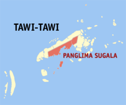 Map of Tawi-Tawi with Panglima Sugala highlighted