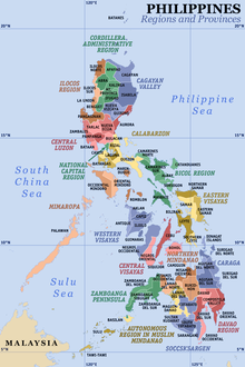 Political map of the Philippines showing its provinces and regions