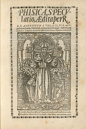 Juan Pablos - Title page of the Phisica speculatio, published in 1557