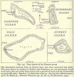 Nikumaroro - Gardner and other islands of the Phoenix Group, from a geographical handbook compiled by the British Admiralty in 1943-45.