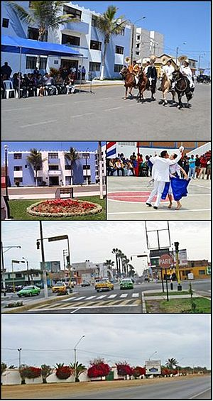 Buenos Aires, Trujillo - From top and left to right: Paso horses in a parade, Municipality of victor Larco, marinera dance, Association of Breeders and Owners of Paso Horses in La Libertad, Buenos Aires welcome in Larco Avenue