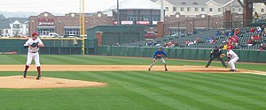 Pickoff - Arkansas's Mark Bolsinger prepares to throw to first base to try to pick off Florida's Avery Barnes in 2009.
