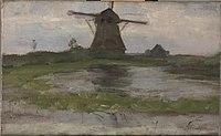 Piet Mondriaan - Oostzijdse mill viewed from downstream with mill at center - 0334247 - Kunstmuseum Den Haag.jpg