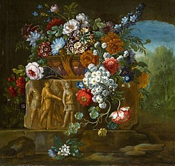 Flower Still Life with a Fragment of a Roman Relief