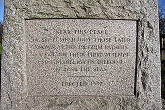 Pilgrim Fathers Memorial - Inscription on the Pilgrim Fathers Memorial 1957-2009