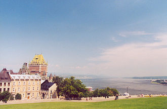 Plains of Abraham - Looking toward the Château Frontenac and over the Saint Lawrence River