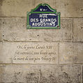 Plaque Louis XIII, 8 rue des Grands-Augustins, Paris 6.jpg