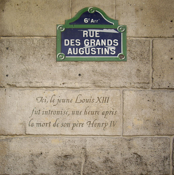 Fichier:Plaque Louis XIII, 8 rue des Grands-Augustins, Paris 6.jpg