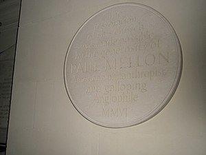 Paul Mellon - Plaque to Paul Mellon, American philanthropist and galloping anglophile within St George's, Bloomsbury