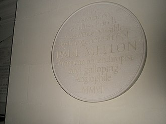 Anglophile - Plaque to Paul Mellon, an anglophile, within St George's, Bloomsbury