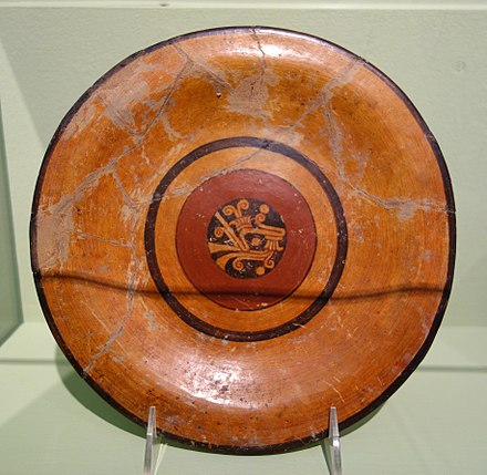 Typical Aztec black on orange ceramic ware Plate with painted decoration, Aztec culture, Mexico, ceramic - Fitchburg Art Museum - DSC08809.JPG