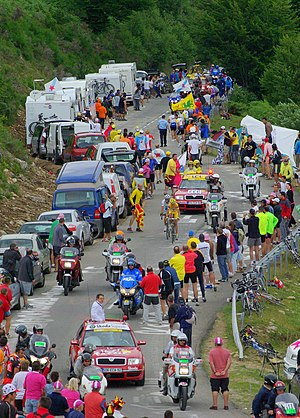 Plateau de Beille - The yellow jersey arriving during the Tour de France 2007