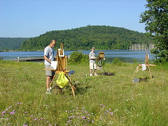 Ringwood, New Jersey - Plein air painters painting at Long Pond in Ringwood, NJ.