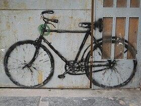 La bici sola en el barrio de pichincha, que se inerpreta erroneamente como de Pocho(Foto de 2007)
