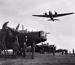 Polish Air Forces in France and Great Britain - Ground crews of No. 300 Polish Bomber Squadron work on their Vickers Wellington Mark Xs at RAF Hemswell, Lincolnshire.
