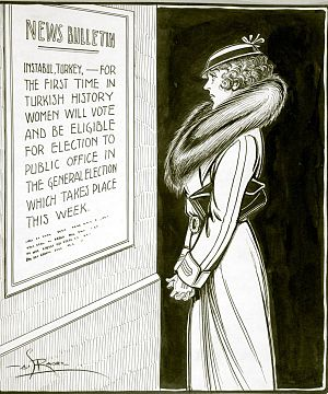 Women's suffrage in Canada - Political cartoon commenting on women's voting rights in Quebec