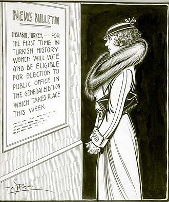 """Atatürk's Reforms - Canadian political cartoon of a woman in Quebec reading a sign that reads: """"News bulletin: for the first time in Turkish history women will vote and be eligible to the public office in the general election which takes place this week."""" Women were granted the right to vote in Turkey in 1930, but the right to vote was not extended to women in provincial elections in Quebec until 1940."""