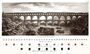 Pont du Gard - Engraving of the Pont du Gard by Charles-Louis Clérisseau, 1804, showing the seriously dilapidated state of the bridge at the start of the 19th century